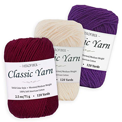 (Cotton Yarn Assortment | Tyrian Purple + Parchment White + Royal Purple | 2.5oz / Ball - 3 Solid Colors - Worsted/Medium Weight - for Knitting, Crochet, Needlework, Decor, Arts & Crafts Projects)