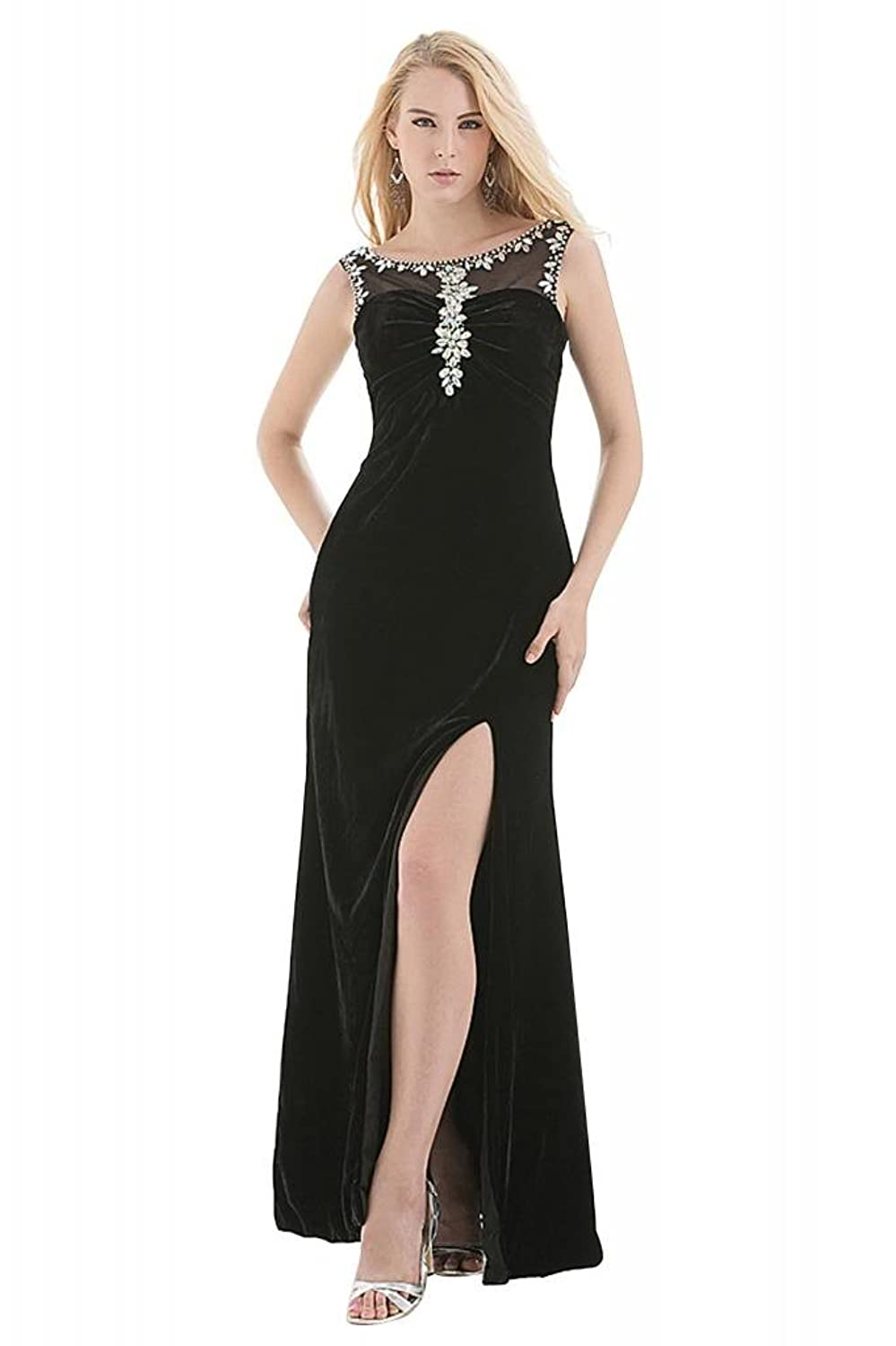 GEORGE BRIDE Graceful Strapless Beaded Chiffon with Split-Front Evening Dress