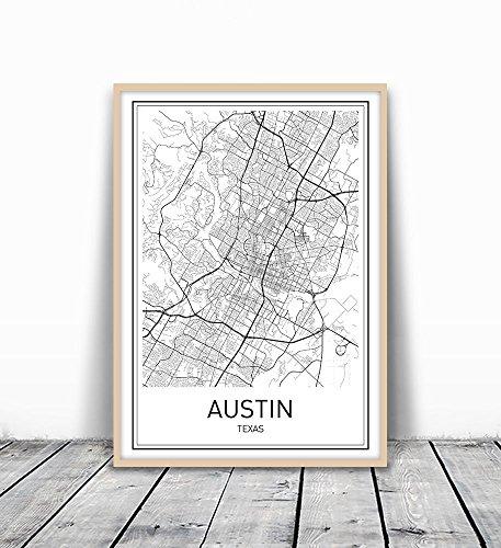 Austin Map, Austin Map Print, City Maps, Map Print, Map Art Print, Map Poster, Texas Map, Texas, Black White Map, Map Wall Art, Map Art, Modern City Art, Scandinavian Art, City Map Poster, 8x10 - Austin Finish