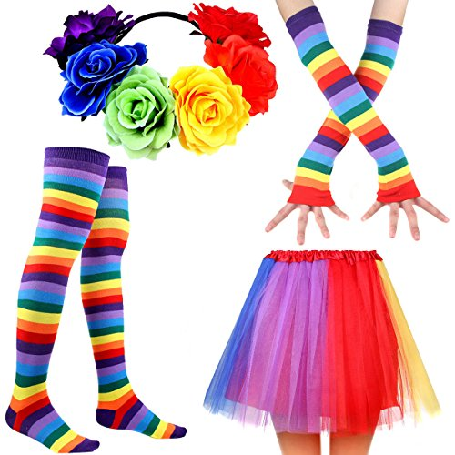 Women's Rainbow Long Gloves Sock Tutu Skirt and Rose Flower Headband Floral Crown Party Accessory Set (Color-D)]()