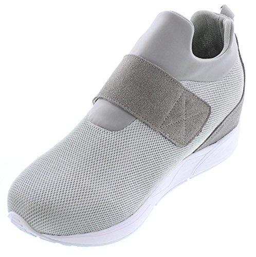 Calto H7199-3 Pouces De Hauteur - Hauteur Augmentant Chaussures Dascenseur - Baskets De Mode Slip-on Gris