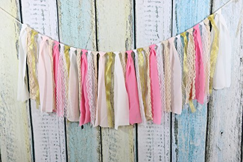 Lace Tassel Garland Fabric Garland Rag Tie Garland Shabby Chic Blush banner Wedding Backdrop Wedding Decor Baby Shower Party Decor Home Decor Wall Hanging Bedroom Decor Boho Decor 4Ft