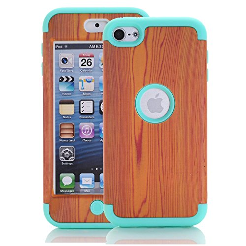iPod Touch 6th Generation Case, iPod Touch 6 Case,SAVYOU 3 in 1 Wood Grain Pattern Hybrid Hard Case Cover with Soft Silicone Inner Case for Apple iPod Touch 5/6(Light Blue) (Ipod Wood 5 Case)