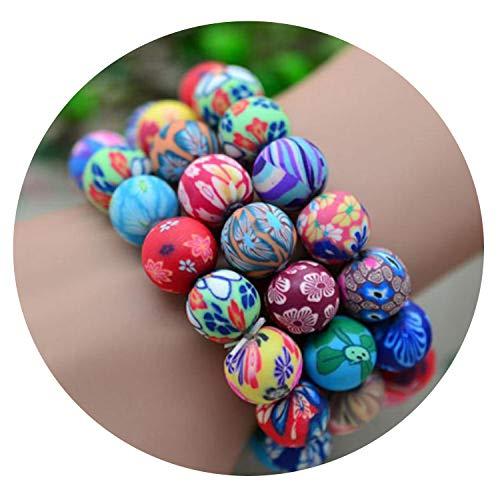Tea language Handmade Bohemia Polymer Clay Beads Colorful Bracelet Elastic Ellipse for Female Women ()