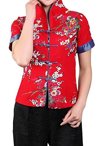 Bitablue Women's Cotton Linen Short-Sleeve Chinese Shirt with Flower Print (Red, X-Small)