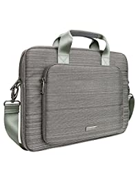 Evecase 15 - 16 Inch Classic Padded Briefcase Messenger Bag with Shoulder Strap and Handle for Laptop Notebook Ultrabook Chromebook Computer - Gray