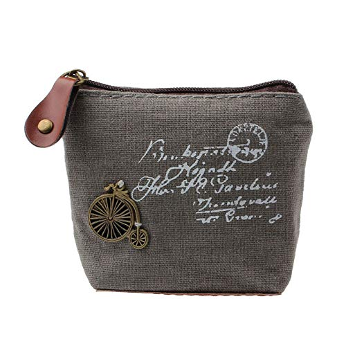Girls Retro Coin Purse Wallet Clutch Zipper Wallet ID Card Handbag Phone Key Bag (Color - Gray #A)