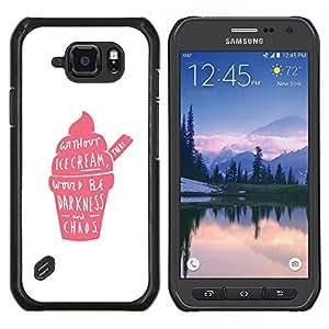 Crema de fresa rosada Caos Positivo- Metal de aluminio y de plástico duro Caja del teléfono - Negro - Samsung Galaxy S6 active / SM-G890 (NOT S6)