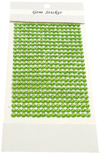 Kel-Toy Round Rhinestone Stickers, 5mm, 384 Pieces Per Sheet, Lime Green