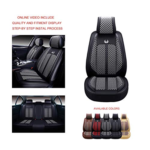 OASIS AUTO OS-007 Leather&Cloth Universal Car Seat Covers Automotive Vehicle Cushion for...