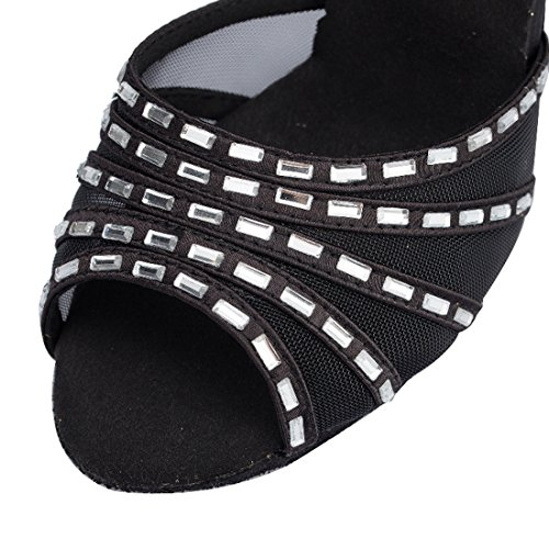 Women's Mesh Satin Salsa Prom Latin Shoes Peep Wedding Toe Evening Wrap Ankle TDA Black Rhinestone ZUYwxZ
