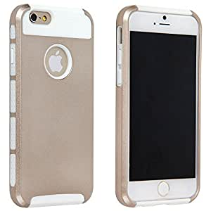 Kobwa(TM) White and Golden Brand New 2 in 1 Silicone PC Case for iPhone 6 4.7 inch with Kobwa's Keyring
