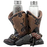 Decorative Cowboy Boots, Gun Belt & Six-shooter Salt and Pepper Shaker Set with Holder Figurine for Western Restaurant, Bar and Kitchen Decor Sculptures or Collectible Gifts for Cowboys