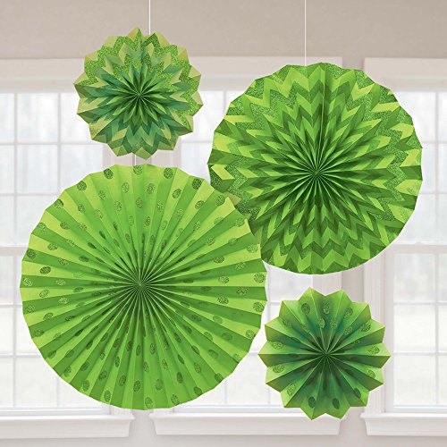 Amscan 295000.53 Glitter Paper Fan Decoration, Assorted Sizes, Kiwi