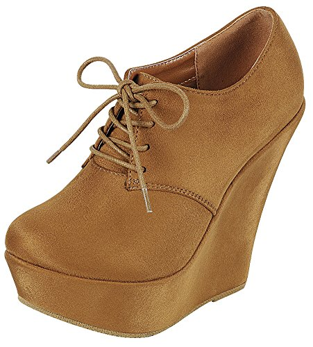 Forever Link Womens Lace Up Platform Wedge Heel Oxford Shoe Tan zTLtw0HiPg