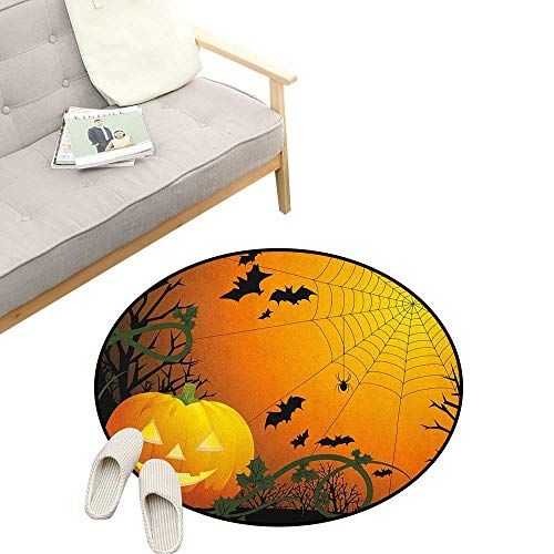 Spider Web Custom Round Carpet ,Halloween Themed Composition with Pumpkin Leaves Trees Web and Bats, The Custom Round Non-Slip Doormat 47