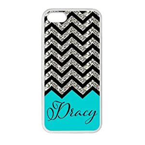 Iphone 5 and 5S Case Personalized Turquoise Chevron Pattern with Handwriting Luxury Cover Case Plastic For Iphone 5 and 5S By @ALL