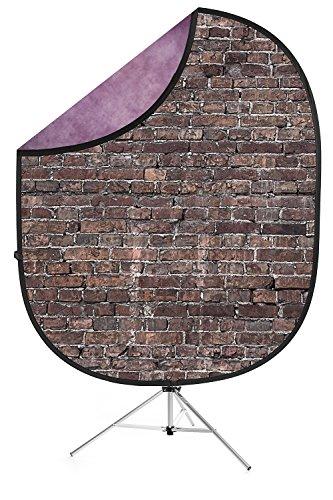 Savage Grunge Brick/Purple Collapsible Backdrop, 5' W x 7' H w/ 8' Aluminum Stand