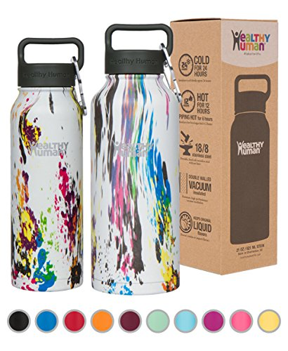 Healthy Human Stainless Steel Insulated Water Bottle Thermos - BPA Free Cap with Hydro Guide & Carabiner Set - Art Deco - 40 - Select Guide Size