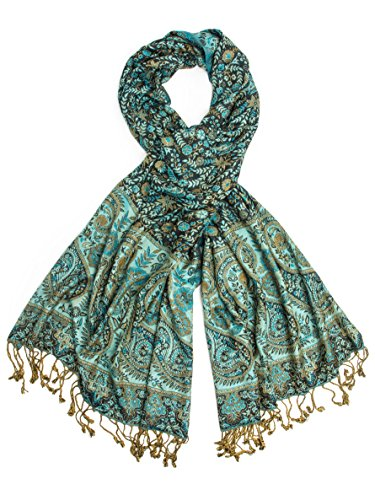 (Bohomonde, Bhayana Reversible Cashmere Silk Pashmina Scarf, hand made in India (Turquoise/Black))