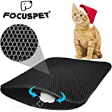 FOCUSPET Cat Litter Mat Litter Trapping Litter Mat Large Size 30'' X 22'' Honeycomb Double Layer Waterproof and Urine Proof Trapping Mat For Furniture/Hooded Mat For Litter Box Easy Clean Traps Litter