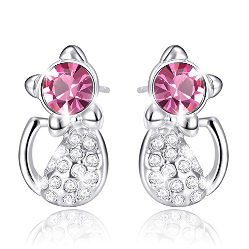 Amazon Lightning Deal 53% claimed: MARENJA Crystal-Women's Cat Stud Earrings White Gold Plated Austrian Crystal Pink