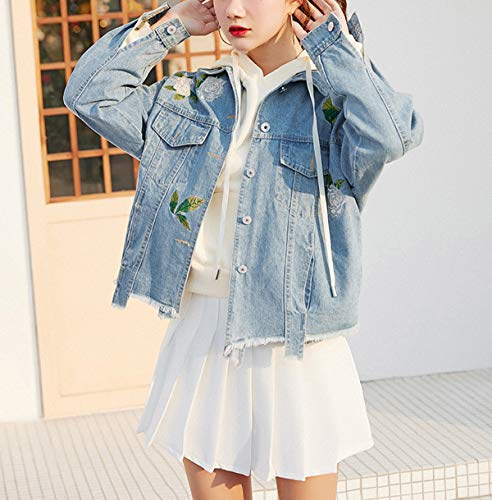 Cime Jeans Casual Ricamo Coat Tops Blu Autunno Corto Oufour Giacca Denim Jacket Lunga Primavera Manica Giacche Cappotto Donna Di Outerwear E 0Ypfx4qa