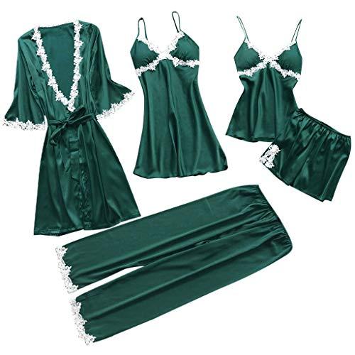 Lelili Women 5pcs Comfy Satin Silk Sleepwear Sets Lace Sling Sleepwear Shorts Nightdress Plus Size Casual Lingeries Green