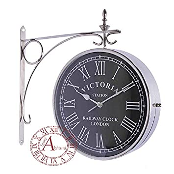 akhandstore antique wall clock 12 inch clock dia steel station clock double sided analog railway clock