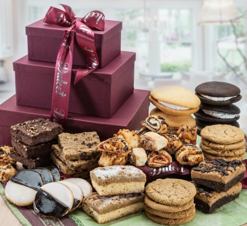 Dulcet 3 Tier Gift Basket Tower Includes: Walnut Brownies, Chocolate Chip Blondies, Black and White Cookies, Crumb Cakes, Chocolate Chip Cookies, and more! Top (Chocolate Chip Walnut Brownies)