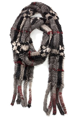Plaid Knitted Danish Mink Fur Scarf by Overland Sheepskin Co