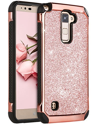 LG Stylo 2 Case, LG Stylus 2 Plus Case, LG Stylo 2 V Case, BENTOBEN Glitter Slim Hard Cover Hybrid Soft Bumper Shockproof Protective Phone Case for LG Stylo 2/ Stylus 2 Plus/K530/MS550/LS775 Rose Gold (Stylo 2 Plus Vs Stylo 3 Plus)