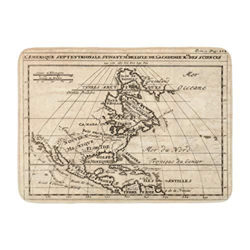 (Antique World Map,Darkchocl Decorative Bath Mat Antique Map North America Showing Canada Absorbent Non Slip 100 Flannel 17 L X 24 W for Bathroom Toilet Bath Tub Living Room )