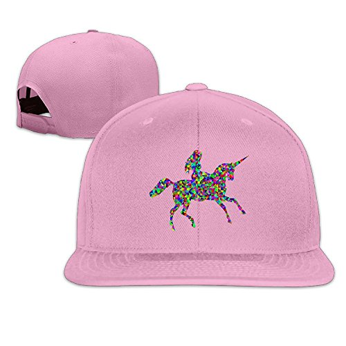 Custom Unisex Woman Riding Unicorn Flat Bill Baseball Cap Hats Pink (Becky G Halloween Songs)