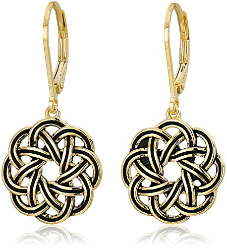 18k Yellow Gold Plated Sterling Silver Celtic Knot Leverback Dangle Earrings
