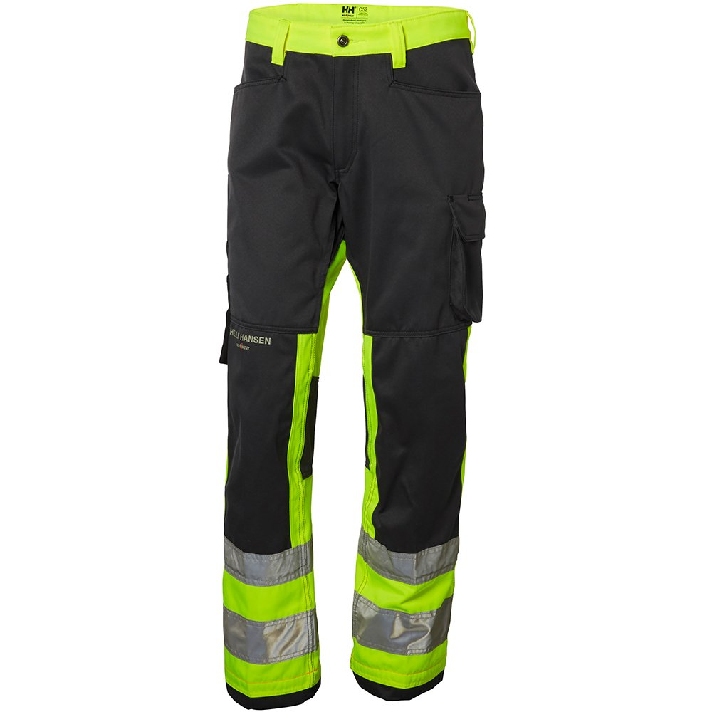 Helly Hansen 77410_369-D96 Class 1 Hi-Vis Pants with Alna Construction, D96, Yellow/Charcoal
