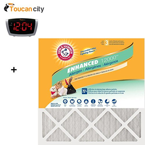 Toucan City LED Alarm clock and 20 in. x 30 in. x 1 in. Odor Allergen and Pet Dander Control Air Filter (12-Pack) AF-AH2030