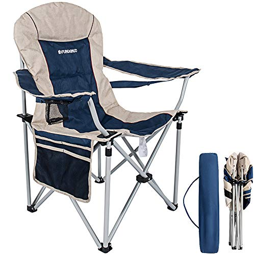 (FUNDANGO Folding Armchair Back Support Padded Camping Chair with Cup Holder and Armrest for Beach Camp Sports Portable Outdoor)