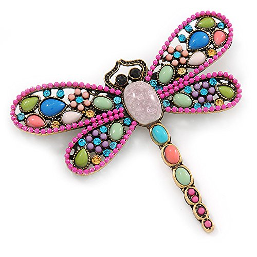 Avalaya Multicoloured Acrylic Bead, Crystal Dragonfly Brooch In Antique Gold Tone - 75mm L