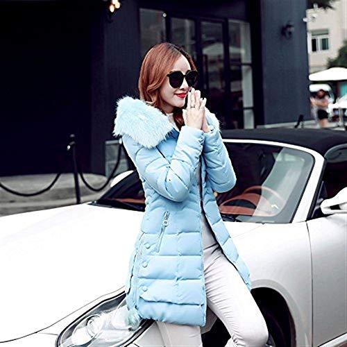 Saoye Down Size Addensante Big Pelliccia Parka Invernale Cappuccio Coat Abbigliamento Donna Unita Elegante Giacca Tinta Fashion Fit In Warm Con Manica Blau Slim wwU4rpfq