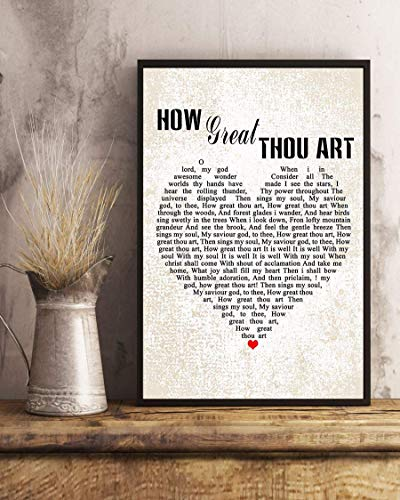 kalistamao Wall Art-How Great Thou Art Song Lyrics Decor Portrait Poster Print for Home、Office and Cafe 14x11in with Frame