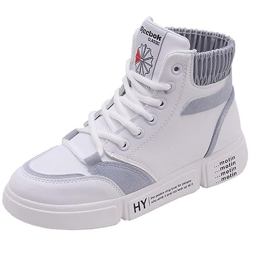 2019 Deportivos de Cuña Mujer Zapatillas Botines Botas Deporte Zapatos Alta Sneakers Wedges Elevador Interior Talón Plataforma Casual Negro, Blanco, ...