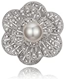 Blooming Floral Design with White Simulated Pearl & Clear Rhinestone Wedding Brooch Pin