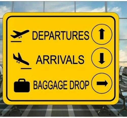 Airport Boarding Departure Baggage  Gate Metal Wall Sign Plaque