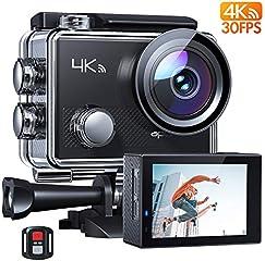 APEMAN Action Cam A77, 4K 20MP Wi-Fi Impermeabile 30M con Telecomando Fotocamera Subacquea Digitale, Hyper...