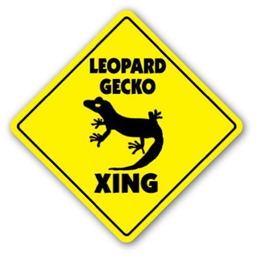 LEOPARD GECKO CROSSING Sign xing gift novelty reptile liz...