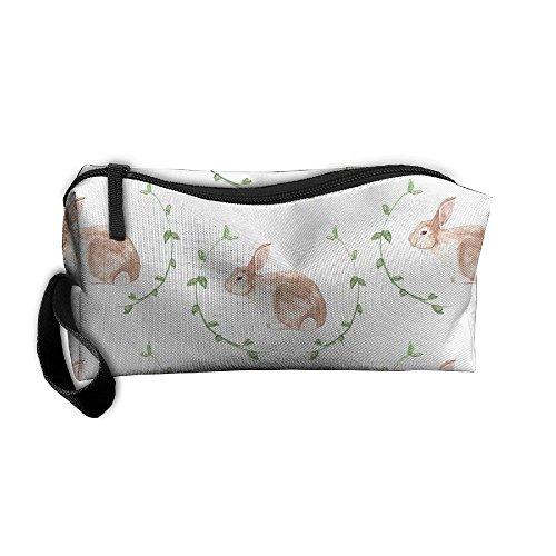 Jessent Coin Pouch Rabbit Bunny Pen Holder Clutch Wristlet Wallets Purse Portable Storage Case Cosmetic Bags Zipper ()