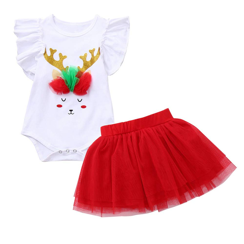 2PCS Christmas Clothes Set Vovotrade Toddler Baby Girls Cartoon Deer Print Romper Newborn Xmas Jumpsuit +Tutu Skirt Outfits Age for 0-2 Years Old