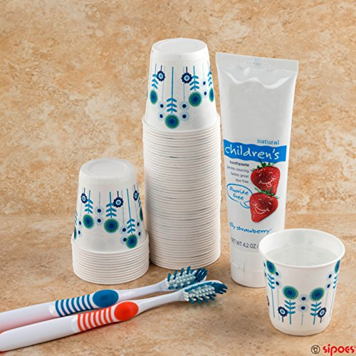 Sipoes 300 Piece Disposable Paper Bath Cups, Hygienic Single Use for Bathroom, Home and Office Supplies, Small Size for Kid's Drinks, Snacks and Craft Projects, Cold Liquids, 3 oz.