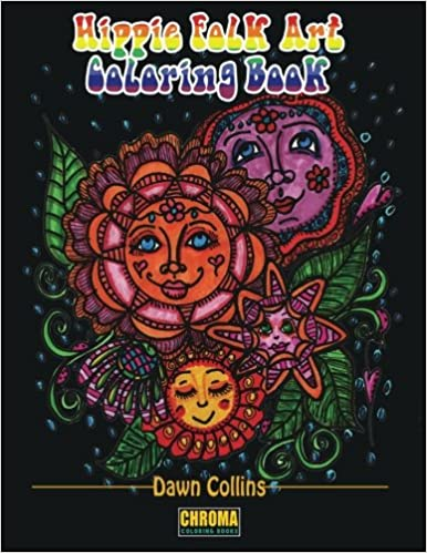 amazoncom hippie folk art coloring book adult coloring book with 50 detailed pictures of suns flowers quotes garden designs mandalas and coffee 8 x - Hippie Coloring Book